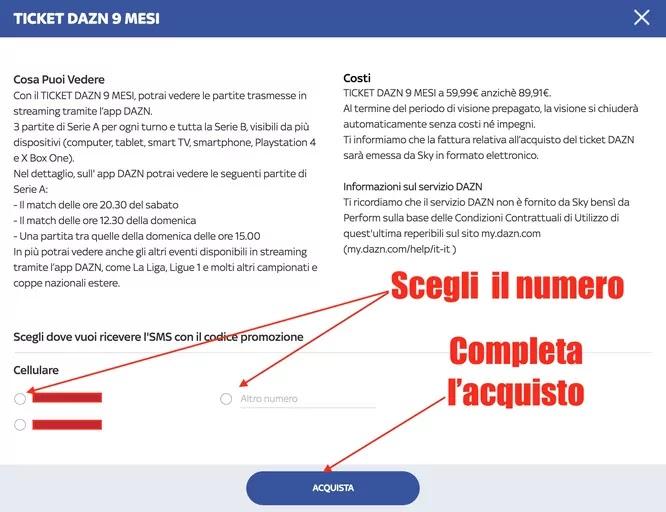 conferma acquisto ticket DAZN con Sky con pagamento su fattura