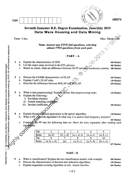 VTU B E CSE 7th Semester Question Papers June July 2015 - University