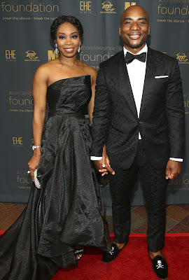 Jessica Gadsden with her husband Charlamagne in an award show