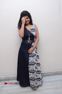 Telugu Actress Alekhya Stills in Blue Long Dress at Plus One ( 1) Audio Launch  0140.jpg
