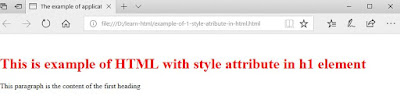 Example of application style attribute in HTML to change the color of  h1 to red