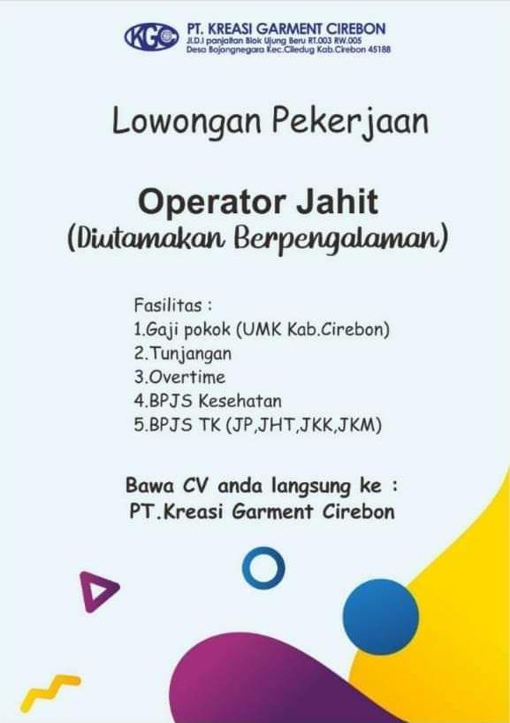 Lowongan Kerja Pt Kreasi Garment Cirebon Kgc Terbaru 2021