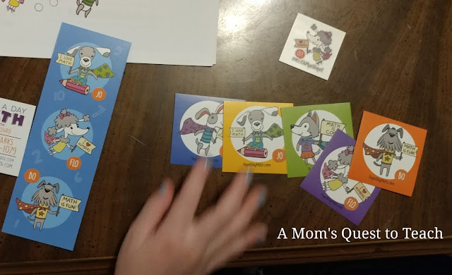 stickers and bookmark from Page A Day Math