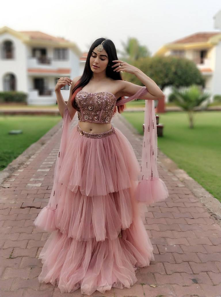 Adah Sharma Navel Show Photo Shoot In Pink Dress
