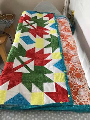 Ready to bind the Celebration Leaves after doing free motion quilting