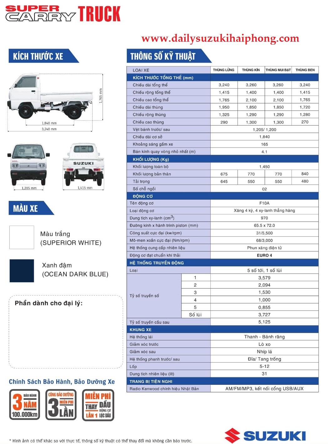 thông số kỹ thuật xe Suzuki 500kg hải phòng thùng kín