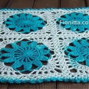 Tapete Flores Azules a Crochet