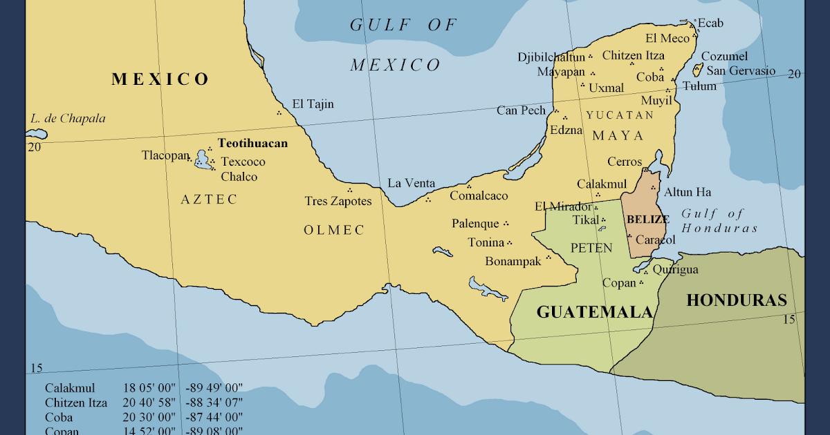 Map Names Pyramids Mexico
