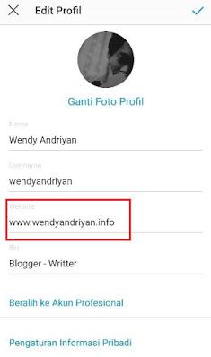 Menyisipkan Backlink di Profile Instagram