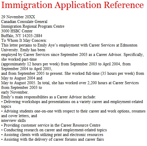 Reference Letter For A Friend Immigration | Professional Resume