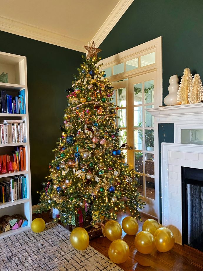 Prelit Christmas Tree Decorated With Vintage Ornaments