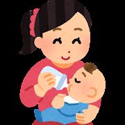 哺乳瓶で授乳している母親のイラスト