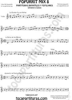 Mix 8 Partitura de Violín Popurrí 8 La Escaleritas con Notas, La Reina de los Mares, Polka Sheet Music for Violin Music Scores Music Score