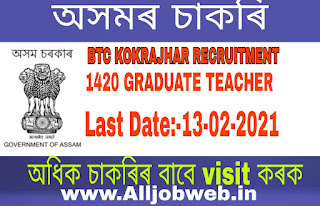 Director of Education, BTC, Kokrajhar 2021 APPLY- has released a notification for the recruitment of 1420 Graduate Teacher