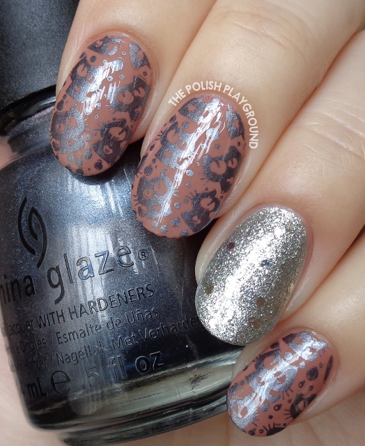 Brown and Dark Grey Cat Stamping with Glittery Silver Accent Nail Art