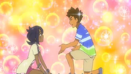 Pokemon Sol y Luna Capitulo 103 Temporada 20 Un corazón apasionado que puede aplastar incluso la roca, Lychee y Takeshi