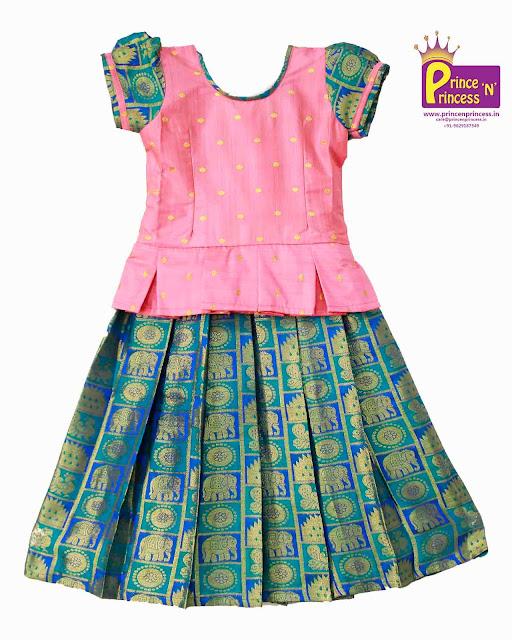 Kids Pink Blue Pattu Pavadai Lehenga