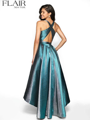 Metalic Mikado open back flair prom Dress Blue/silver color Back Side