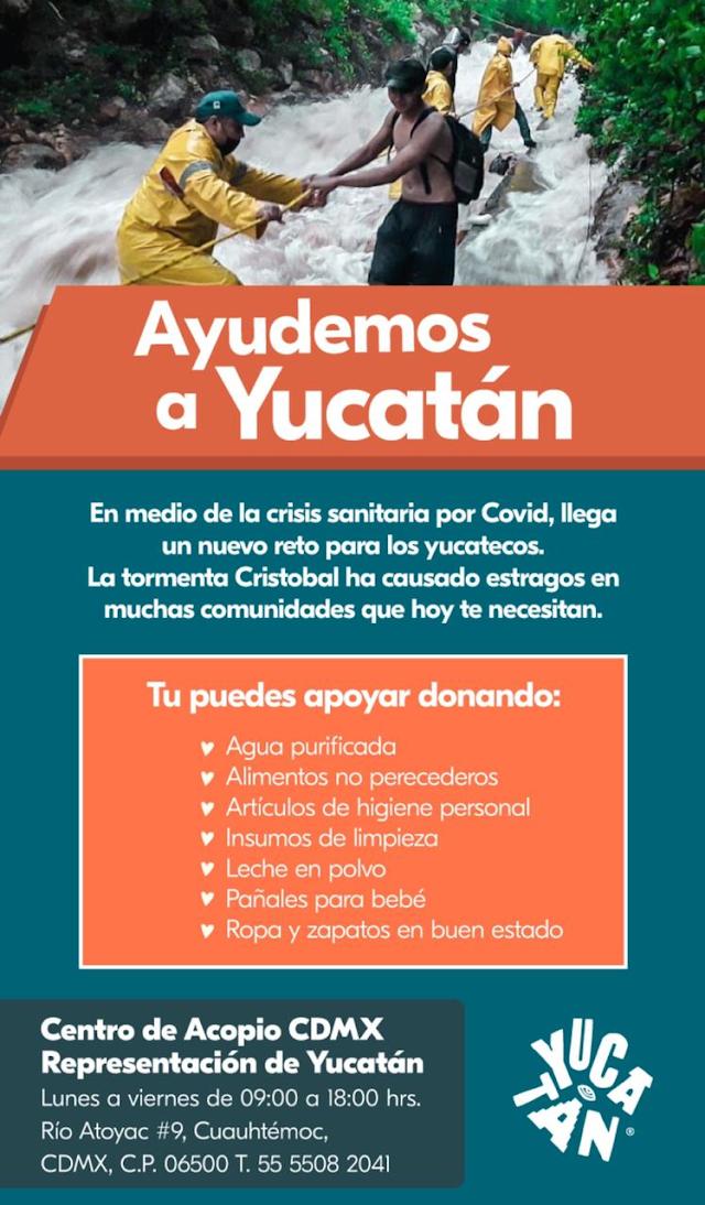 """EL GOBIERNO DE YUCATÁN ABRE CENTRO DE ACOPIO EN CDMX PARA DAMNIFICADOS POR DEPRESIÓN TROPICAL """"CRISTÓBAL"""""""