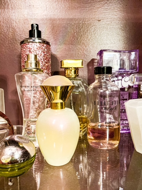 clear shelves for perfume