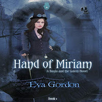 Hand of Miriam audiobook cover. An attractive woman in pseudo-Victorian dress emerges from the ruins.