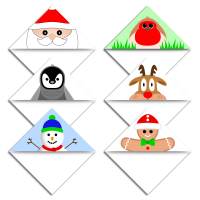 Christmas characters bookmark corner page markers.