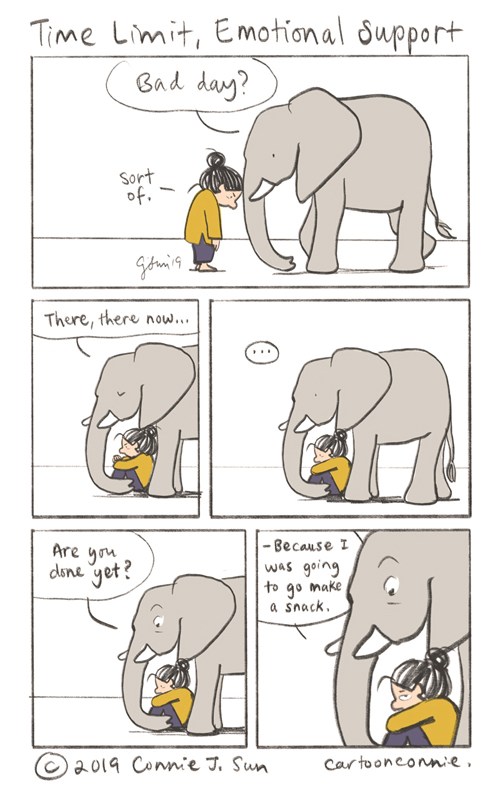 bad day, emotional support, humor, elephant, comics, connie sun, conniewonnie, cartoonconnie