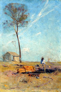 The Selectors Hut Whelan On The Log - Arthur Streeton painting