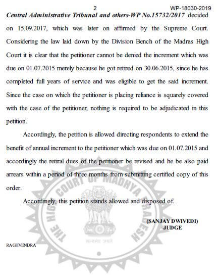 Grant Increment on 01st July who retired on 30th June with interest of 6% per annum – High Court Madhya Pradesh