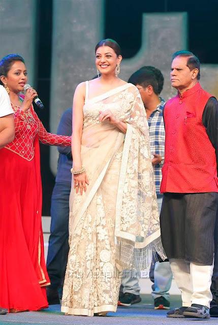 Kajal Aggarwal In Beautiful Designer Saree at Khiladi 150 Meet (1)