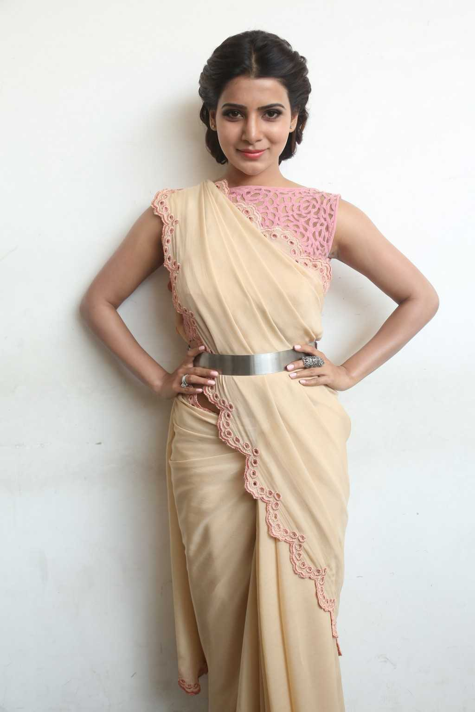 Tollywood Actress Stills In Designer Yellow Saree Samantha