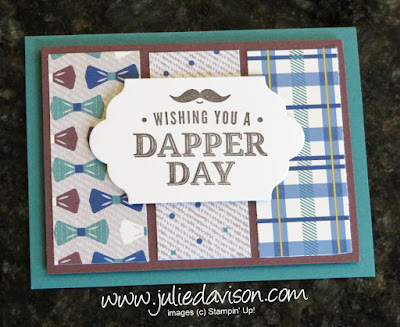 Stampin' Up! Truly Tailored True Gentleman masucline card ~ 2018 Occasions Catalog ~ www.juliedavison.com ~ easy card layout