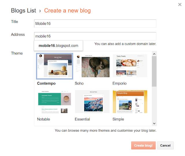 Create blogspot.com (blog)