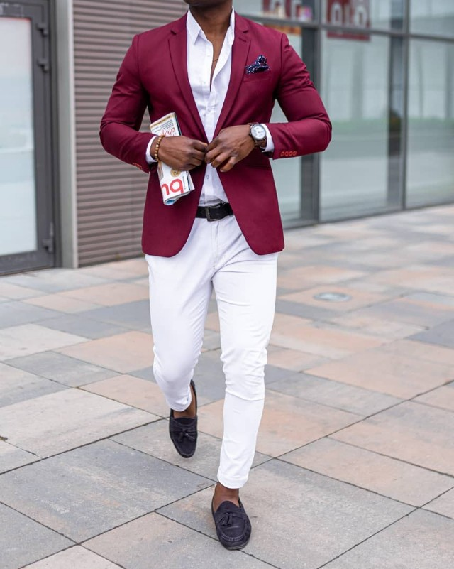 Wine color blazer, white shirts and pant