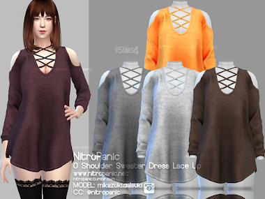 0 Shoulder Sweater Dress Lace Up for The sims 4