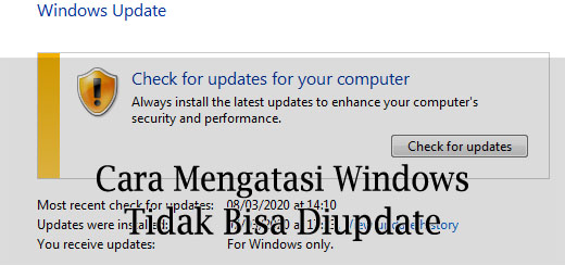mengatasi windows gagal update