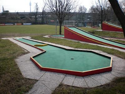 The Swedish Felt Minigolf course at the Askoe Wien Wasserpark in Vienna, Austria