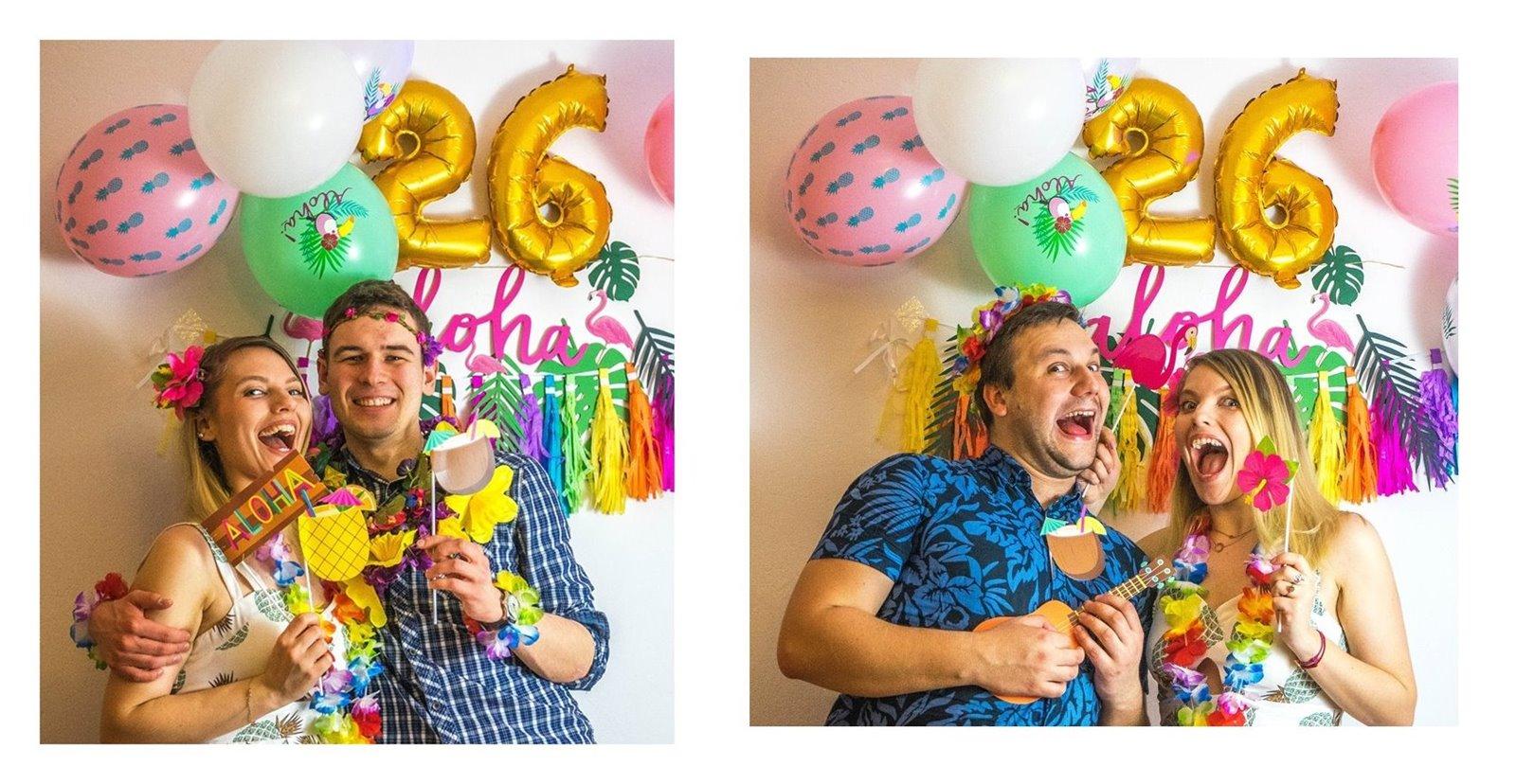 17a  jak zorganizować atrakcje na urodziny imprezy dla dorosłych fotobudka diy pomysły na urodziny co zrobić atrakcje jedzenie zdjęcia pamiątki dodatki styl hawajski tematyczne urodziny imprezy