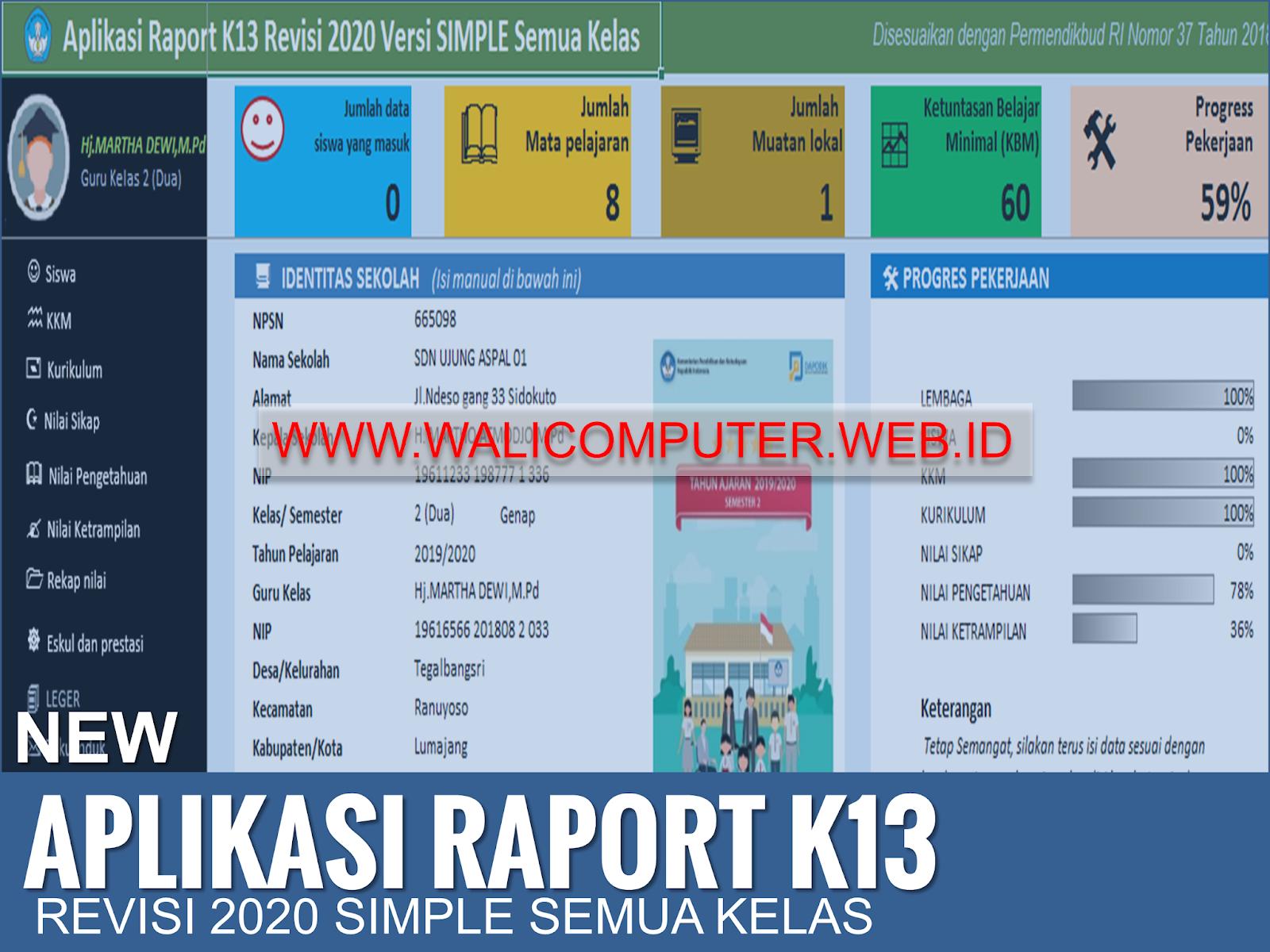 New Aplikasi Raport K13 Sd Revisi 2020 Simple Semua Kelas Wali Computer
