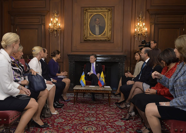 Crown Princess Victoria and Prince Daniel meets with Colombian President Juan Manuel Santos Calderon