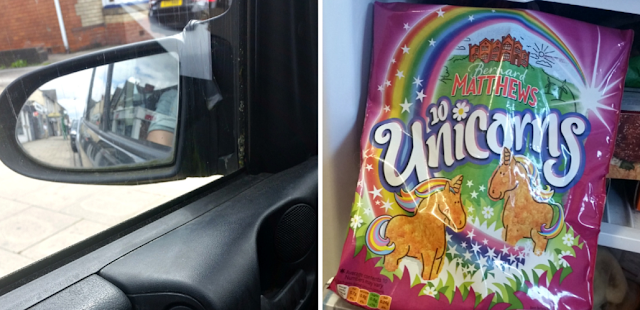 sitting in a car and unicorn turkey burgers