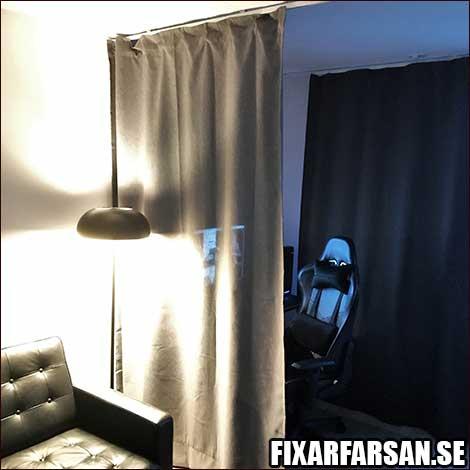 IKEA takgardin skena skärma av vardagsrum