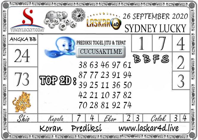Prediksi Sydney Lucky Today LASKAR4D 26 SEPTEMBER 2020