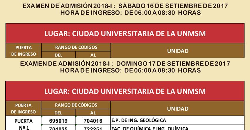 UNMSM: Locales y Aulas Examen Admisión 2018-1 (Sábado 16 - Domingo 17 Setiembre) Universidad Nacional Mayor de San Marcos - www.admision.unmsm.edu.pe