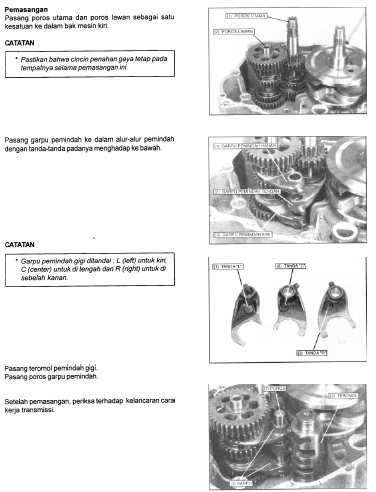 Panduan Cara Pasang Gigi Transmisi Motor Tiger 2000, Tiger Revo, Honda GL