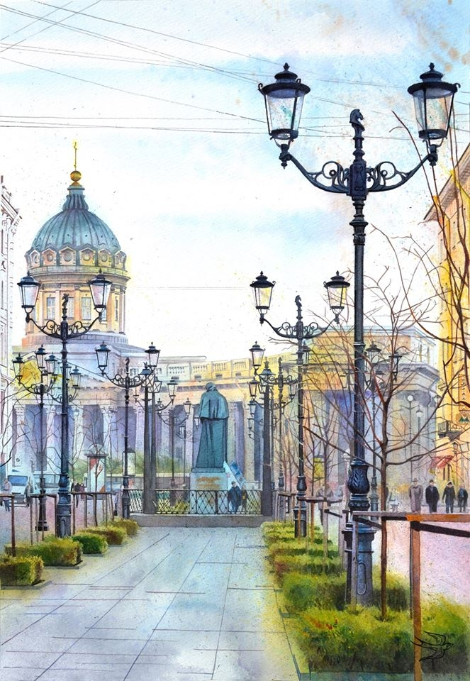 04-Kazan-Cathedral-Saint-Petersburg-Viktoria-Kravchenko-Architecture-Student-Paints-City-Scenes-Watercolors-www-designstack-co