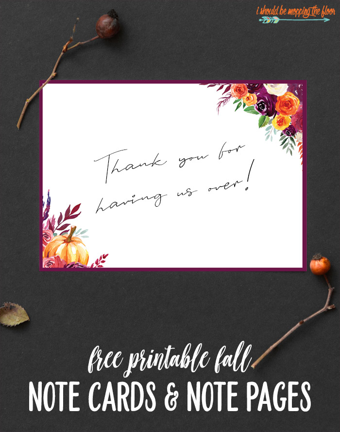 Fall Note Cards and Note Pages