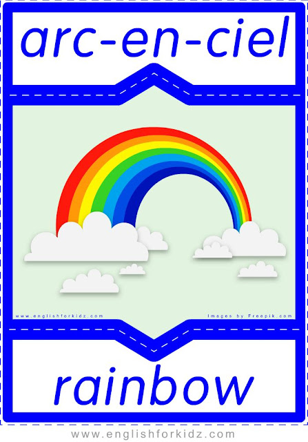 rainbow in French, arc-en-ciel en anglais, English-French nature flashcards