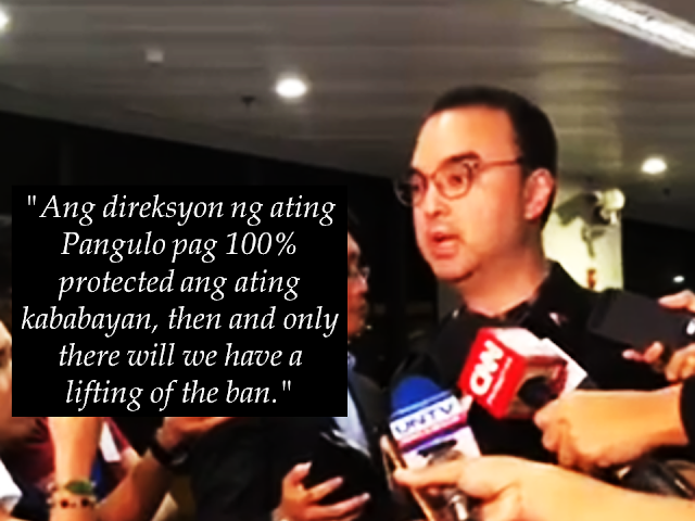 "Only when Overseas Filipino Workers (OFWs) receive 100% protection in Kuwait, the deployment ban will be lifted. this is what Foreign Affairs Secretary Allan Peter Cayetano said during a press briefing as he assists the new batch of OFWs from Kuwait as they arrive at NAIA.   The signing of a memorandum of understanding (MOU) between both governments was one way to achieve this objective, Cayetano said. Advertisement        Sponsored Links           He also said they were discussing ""other things"" to arrive at the goal, but he could not disclose the details of the discussions as it could cause more confusion.    President Rodrigo Duterte initially said the deployment ban was permanent, but Malacañang said the ban would only be in place until the signing of the MOU.    Labor Secretary Silvestre Bello, Presidential Spokesperson Harry Roque and other Foreign Affairs officials are scheduled to fly to the Gulf State on May 7 for the MOU signing. However, the status of the signing has been in limbo since Villa's expulsion.    Roque said he is not sure if the meeting would push through.    ""Nothing is set. We're hoping, but not sure yet,"" Roque said in a press briefing Thursday.    Villa was declared by Kuwait as persona non grata last week ordering him to leave the country, following the rescue mission of distressed Filipino workers in the Gulf state.    The Department of Foreign Affairs called Villa's expulsion ""deeply disturbing"" and asked the Kuwaiti Ambassador to the Philippines to explain the decision.    A video of the rescue mission went viral, to which Cayetano apologized and then said the Kuwaiti government accepted their explanation.    Warrants of arrest were issued against FIlipino diplomats who were said to be involved in the rescue. Cayetano said they were accused of kidnapping.    Cayetano said they were ""sorting out"" the issue as diplomats are given immunity.    ""We assure everyone that the Philippine government will remain guided by the national interest in seeking solutions that will be beneficial to all concerned. In other words po, kalma lang po [we ask for calm],"" Cayetano said.    He added this was just part of the misunderstanding, but they did have an objective.    ""Ang objective dito, ang welfare ng ating [The objective here is the welfare of our] overseas Filipino. And we will get to that objective while repairing any damage or restoring the strength of our relationship with Kuwait,"" he said.  READ MORE: List of Philippine Embassies And Consulates Around The World    Classic Room Mates You Probably Living With   Do Not Be Fooled By Your Recruitment Agencies, Know Your  Correct Fees    Remittance Fees To Be Imposed On Kuwait Expats Expected To Bring $230 Million Income    TESDA Provides Training For Returning OFWs   Cash Aid To Be Given To Displaced OFWs From Kuwait—OWWA    5 Signs A Person Is Going To Be Poor And 5 Signs You Are Going To Be Rich"