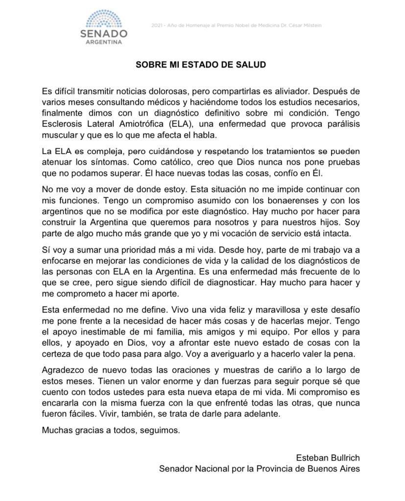 """Esteban Bullrich confirmó que tiene ELA: """"Esta enfermedad no me define"""""""